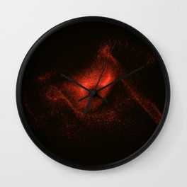 Eye from red glowing particles Wall Clock