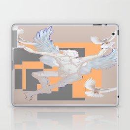 Abstract Angel With Birds Grey Art Laptop & iPad Skin