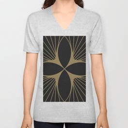 Diamond Series Floral Diamond Gold on Charcoal Unisex V-Neck