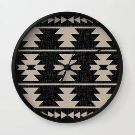 Southwestern Pattern 129 Black and Linen Wall Clock