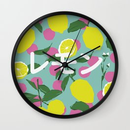 Lemon Japonese Illustration Polka Dots Wall Clock