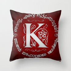 Joshua 24:15 - (Silver on Red) Monogram K Throw Pillow