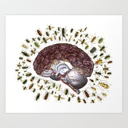negative thoughts anatomical brain collage by bedelgeuse Art Print