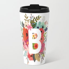 B – Monogrammed Floral Initial Travel Mug