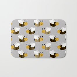 Bee pattern print honey bees nature inspired cute nursery kids gender neutral pattern Bath Mat
