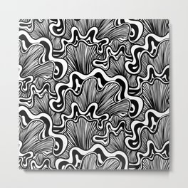 Black and white organic striped shapes Metal Print