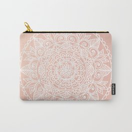 White Mandala on Rose Gold Carry-All Pouch