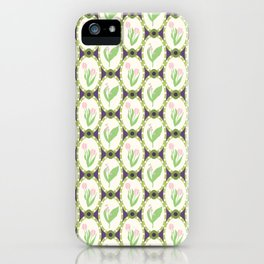 Spring Flowers Tulips and Lily of the Valley Illustrated Pattern Print iPhone Case