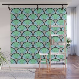 Green Pastel Art Deco Fan Pattern Wall Mural
