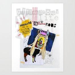 G-LLAMA-ROUS  Princess? I'm the F'ing Queen Llama Collage Art Print