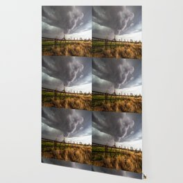Western Life - Barbed Wire and Storm on the Ranch Wallpaper