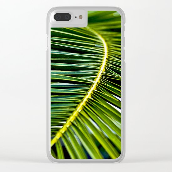 Magic Green Palm Leaves Clear iPhone Case