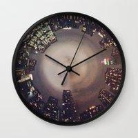 manhattan Wall Clocks featuring Manhattan by Michelle Wenz