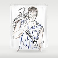 daryl Shower Curtains featuring Daryl Dixon by Salina Ayala