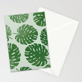 Palm leaves on light green Stationery Cards