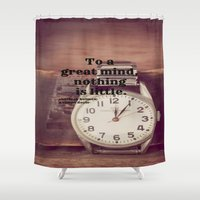 sherlock holmes Shower Curtains featuring Great Mind Sherlock Holmes by KimberosePhotography