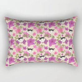 Harlequin Cats with Azalea Floral Pattern over Beige Wood  Rectangular Pillow