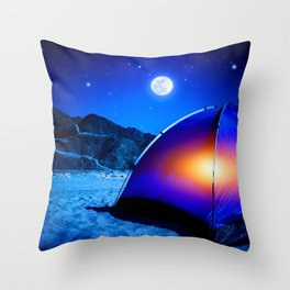 West side Camping Throw Pillow