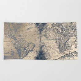 Antique World Map White Gold Navy Blue by Nature Magick Beach Towel