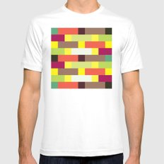 Multicolour stripes pattern White MEDIUM Mens Fitted Tee