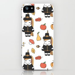 cartoon thanksgiving pattern with pilgrim unicorns, pumpkins, apples, pears, leaves and acorns iPhone Case