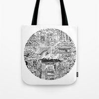 lost in translation Tote Bags featuring Lost In Translation by Candice Soon