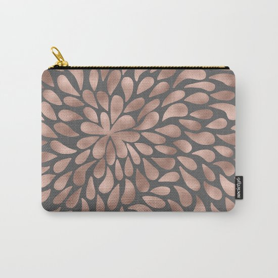 Rosegold- abstract floral elegant pattern on grey background Carry-All Pouch