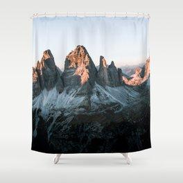 Dolomites sunset panorama - Landscape Photography Shower Curtain