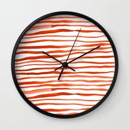 Irregular watercolor lines - orange Wall Clock