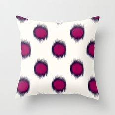 Ikat Dots Raspberry Plum Throw Pillow