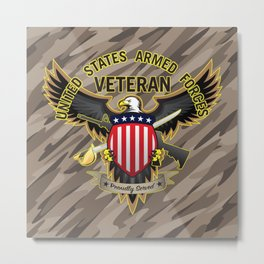 United States Armed Forces Military Veteran Eagle - Proudly Served Metal Print