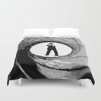 james bond Duvet Covers featuring James Bond Game Boy poster by VGPrints