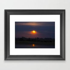 Blood Moon, Night in Countryside Framed Art Print