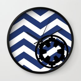Imperial Cog and Chevrons in White Black and Blue Wall Clock