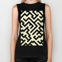 Black and Cream Yellow Diagonal Labyrinth Biker Tank