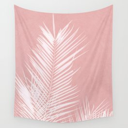 Palm Leaves on Pink II Wall Tapestry