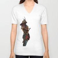 samurai V-neck T-shirts featuring Samurai by Alba Palacio