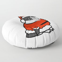Cute penguin dressed in a Santa suit, Santa hat and white beard Floor Pillow