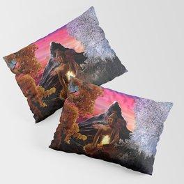 X . The Wheel Tarot Card Illustration Pillow Sham