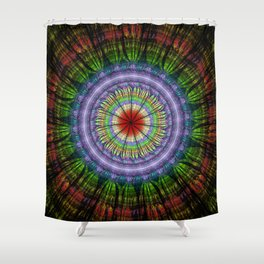 Groovy painterly mandala with tribal patterns Shower Curtain
