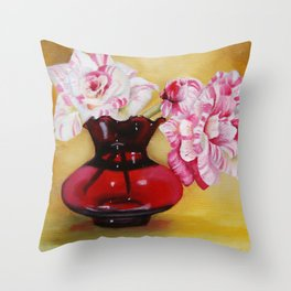 Striped Roses Throw Pillow