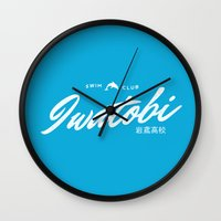 iwatobi Wall Clocks featuring Iwatobi High School Swim Club by A Siren Song