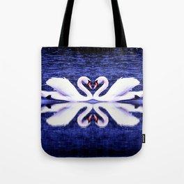 Swans in Love-dark blue Tote Bag
