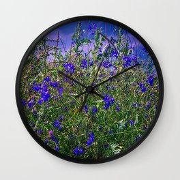 Nature Blue And Green Water Reflection Wall Clock