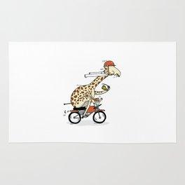 Giraffe on a motorbike eating a cheese sandwich... Rug