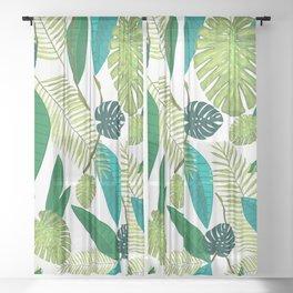 Tropical Green Leaves Sheer Curtain