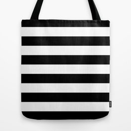 Stripe Black & White Horizontal Tote Bag
