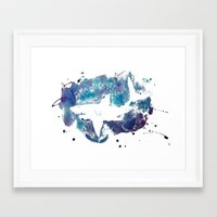 shark Framed Art Prints featuring Shark by Vanishing Fin