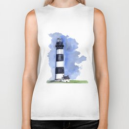Bodie Island Lighthouse loose watercolor painting Biker Tank