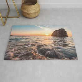 Seascape sunset view on the. Surface of water Rug